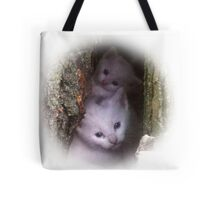 Kittens Hiding In Hollow Tree Tote Bag