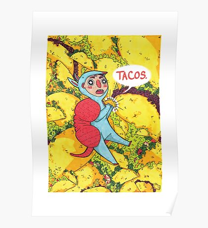 Armadillos Love Tacos Poster