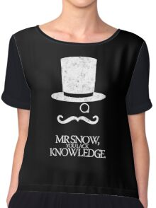 Mr Snow, You Lack Knowledge - White on Black Chiffon Top
