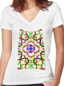 3D mandala Women's Fitted V-Neck T-Shirt
