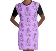 Mermaid with octopus and assorted fish Graphic T-Shirt Dress
