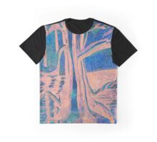 Blue-Peach Dawn River Tree Graphic T-Shirt