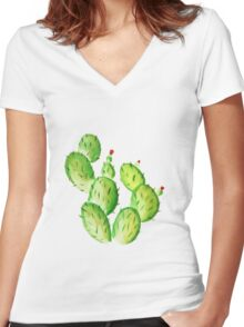 watercolor cactus print Women's Fitted V-Neck T-Shirt