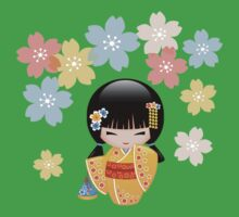 Japanese Summer Kokeshi Doll Kids Tee