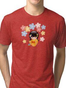 Japanese Summer Kokeshi Doll Tri-blend T-Shirt