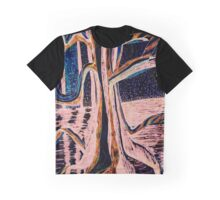 Black-Peach Moonlight River Tree Graphic T-Shirt