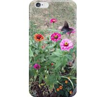 Butterfly on Zinnias iPhone Case/Skin