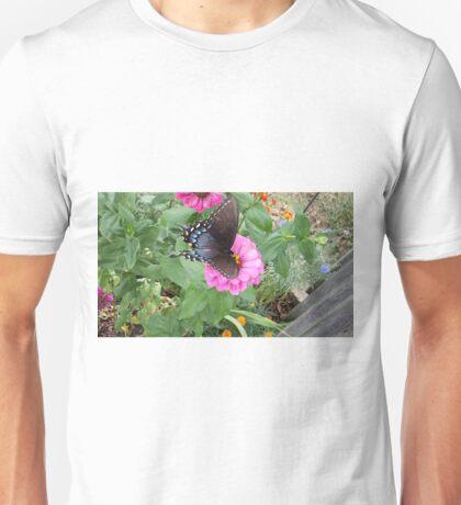 Butterfly on Zinnias Unisex T-Shirt