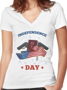 Independence Day Women's Fitted V-Neck T-Shirt