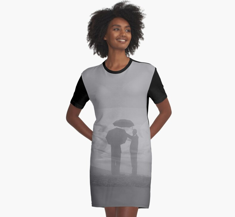 B&W Rainy Day Graphic T-Shirt Dress