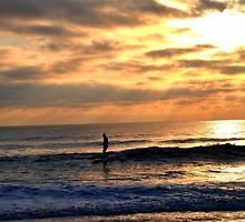 Surfer At Dawn II by Sean Brett