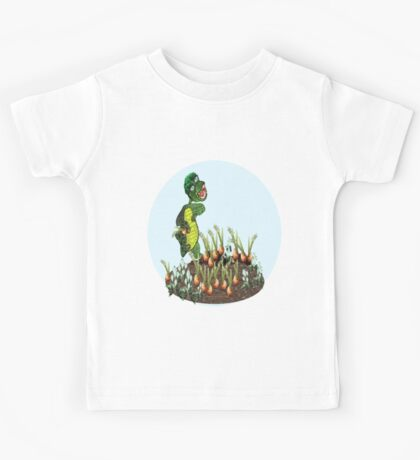 Greeny chases rabbits of his carrot patch ( 803 Views) Kids Tee