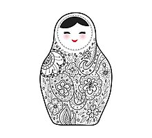 Cute doll matrioshka Babushka on black background Photographic Print