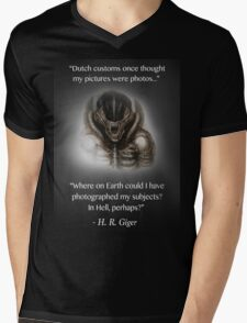 H.R. Giger Quote w/ '78 Alien Drawing (dark backgrounds only) Mens V-Neck T-Shirt