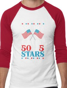 America Rated 50 out of 5 Stars Patriotic USA T-Shirt Men's Baseball ¾ T-Shirt