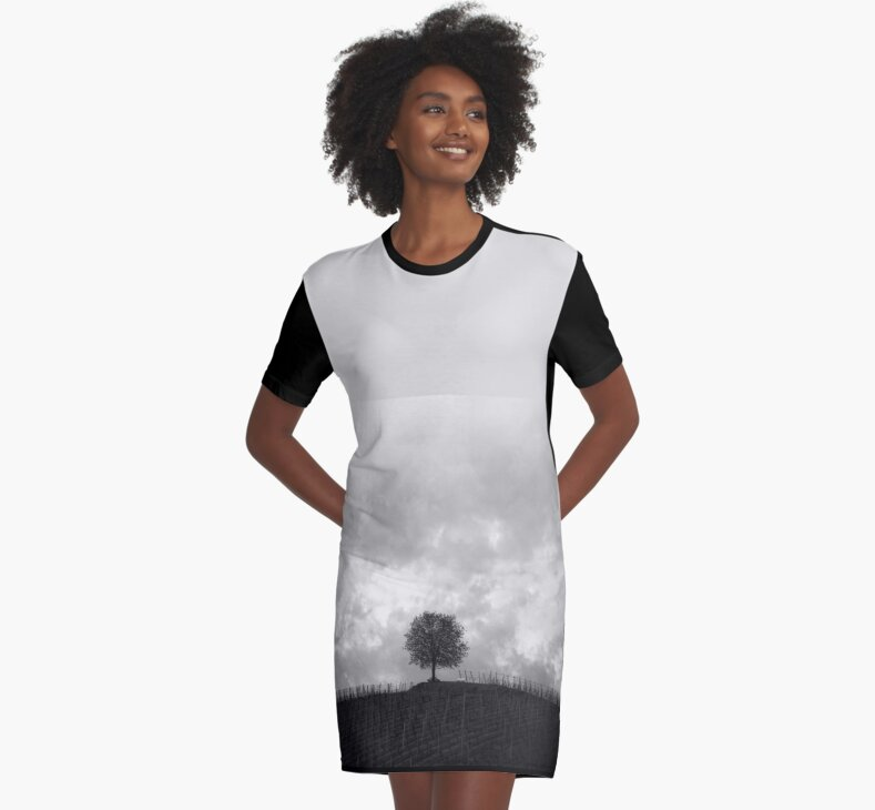 Black & White Graphic T-Shirt Dress