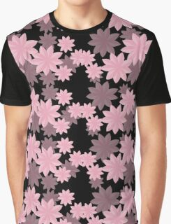 Floral Pattern Japanese Origami Style Pink Graphic T-Shirt