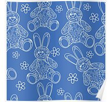 Seamless pattern with buny toys Poster