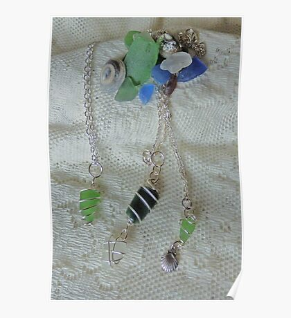 Scottish sea-glass pendants Poster