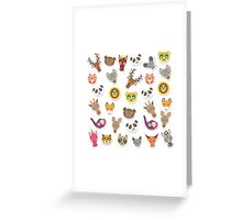 Funny animals on pink-peach Greeting Card