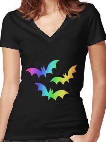 MLP - Cutie Mark Rainbow Special - Flutterbat (Fluttershy) Women's Fitted V-Neck T-Shirt
