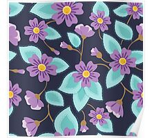 Flowers pattern vintage on blue Poster