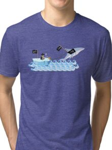 Pirate penguin and shark Tri-blend T-Shirt