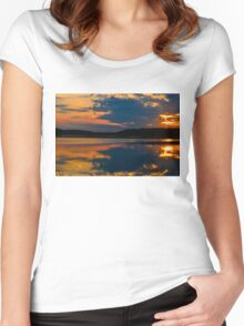 Bombay Hook Sunset Women's Fitted Scoop T-Shirt