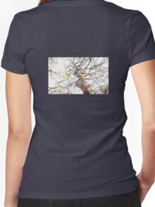 Nebula Stars Tree Silhouette Women's Fitted V-Neck T-Shirt