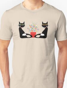 Two Cats With Flowers Unisex T-Shirt