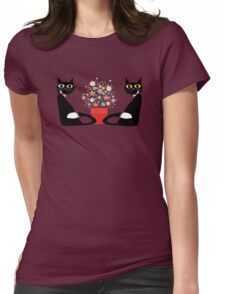 Two Cats With Flowers Womens Fitted T-Shirt