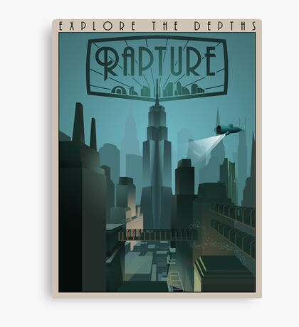 Rapture Art-Deco Travel Poster (Without Texture) Canvas Print