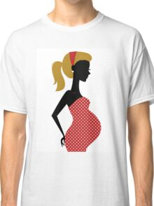 Pregnant woman silhouette Illustration Classic T-Shirt