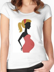 Pregnant woman silhouette Illustration Women's Fitted Scoop T-Shirt