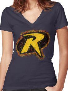 Superhero Spray Paint - Robin Women's Fitted V-Neck T-Shirt