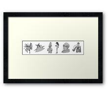 Characters from FFVII, IX, X (graphite) Framed Print