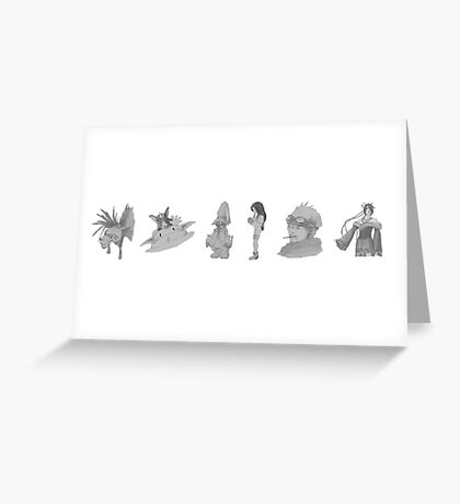 Characters from FFVII, IX, X (graphite) Greeting Card