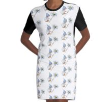 Little Gnome Girl with Big Daisy Flower Graphic T-Shirt Dress
