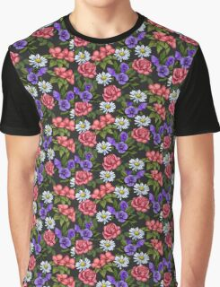 A Riot of Flowers: Daisies, Pink Roses, Pansies, Floral Art Graphic T-Shirt