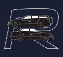 Volvo 850R T5-R Swedish Turbo Black Outline Kids Tee