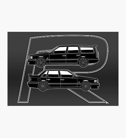 Volvo 850R T5-R Swedish Turbo Black Outline Photographic Print
