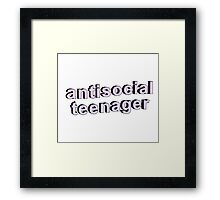 ANTISOCIAL TEENAGER funny tumblr merch!  Framed Print