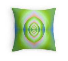 Green Pink and Blue Labyrinth Cave Throw Pillow