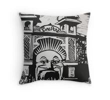 Luna Park linocut print Throw Pillow