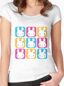 Kawaii Bunny Squares  Women's Fitted Scoop T-Shirt