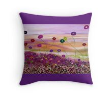 Fields with flowers abstracted. Throw Pillow