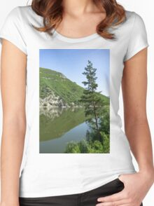 Lean In - a Lone Pine on the Lake Shore Women's Fitted Scoop T-Shirt