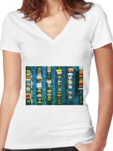 Vintage electronic board Women's Fitted V-Neck T-Shirt
