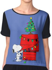 Snoopy Christmas Tree Chiffon Top