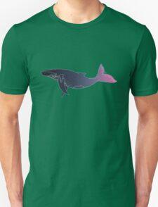 Sky Whale (white lines) (horizontal) Unisex T-Shirt